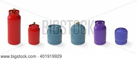Vector Set Of Different Gas Tanks. Lpg Natural Gas Cylinders With Different Shapes And Colors. 3d Mo