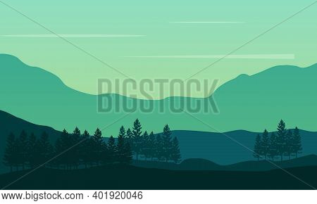 Nice Natural Morning View On The City Edge. City Vector