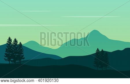 The Beautiful Scenery Trees And Mountains At Sunrise In The Morning. City Vector