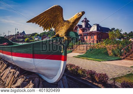 Eagle Figurehead In Front Of A River Port Station In The Town-island Of Sviyazhsk, Tatarstan. Transl