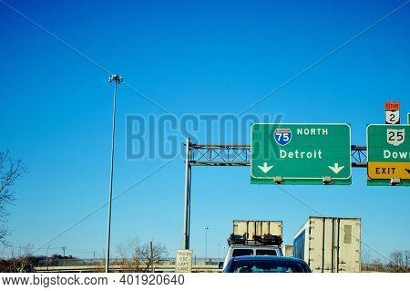 Traffic Jam On Northbound Interstate 75 Near Detroit, Michigan.
