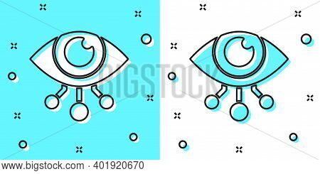 Black Line Eye Scan Icon Isolated On Green And White Background. Scanning Eye. Security Check Symbol