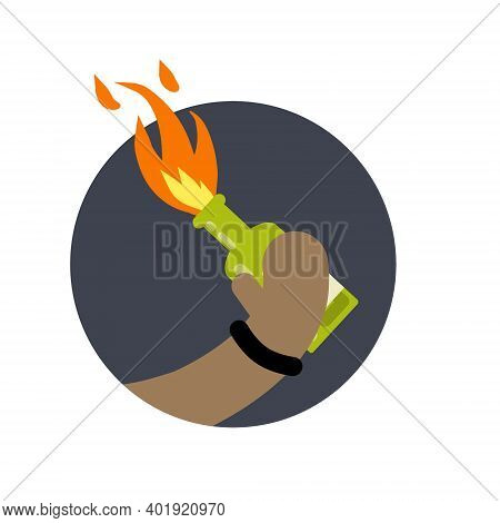 Molotov Cocktail. Fire And Bottle. Propellant Bomb And Napalm. African-american Holds In Hand Weapon