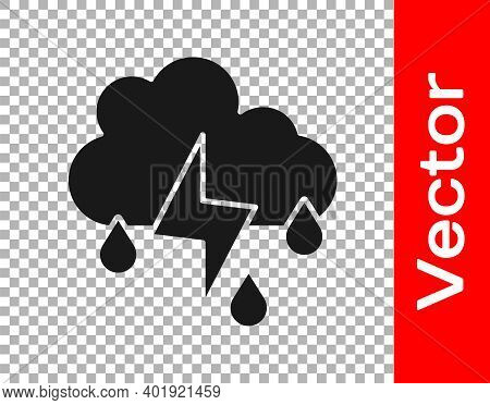 Black Cloud With Rain And Lightning Icon Isolated On Transparent Background. Rain Cloud Precipitatio