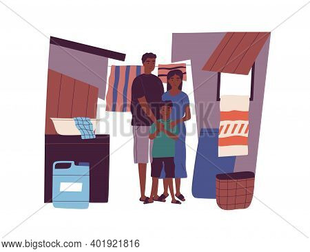 Portrait Of Dark Skin Poor Family Living At Slum Standing Together Vector Flat Illustration. Mother,
