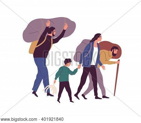 Group Of Refugee People Carrying Huge Bags With Things Vector Flat Illustration. Man, Woman And Chil
