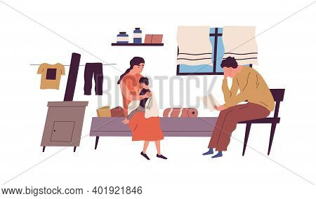 Poor Family Have No Money To Pay Bills Vector Flat Illustration. Miserable Jobless Father Holding Re