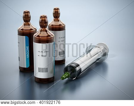 Generic Covid-19 Vaccine In Glass Bottle. 3d Illustration.