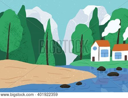 Beautiful Natural Landscape With Forest, Mountain, River And Countryside Houses Vector Flat Illustra