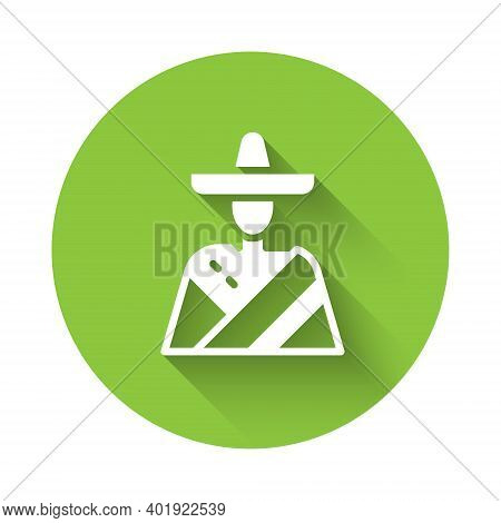 White Mexican Man Wearing Sombrero Icon Isolated With Long Shadow. Hispanic Man With A Mustache. Gre