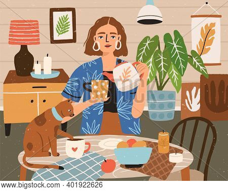 Woman Pouring Tea Into Cup At Cozy Home Interior Vector Flat Illustration. Female Character Drinking