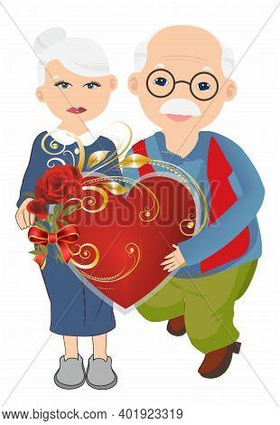 Composition With Grandma And Grandpa Who Are Holding A Big Red Heart