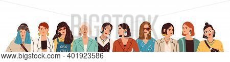 Portrait Of Women In Stylish Clothes And Accessories Standing Together Vector Flat Illustration. Fas