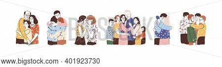 Set Of People Hugging And Support Each Other Isolated On White. Concept Of Reunion And Warm Relation