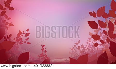Abstract Red Pink Colour Background With Glade Foliage, Horizontal Panoramic View. Meadow Blur. Vect