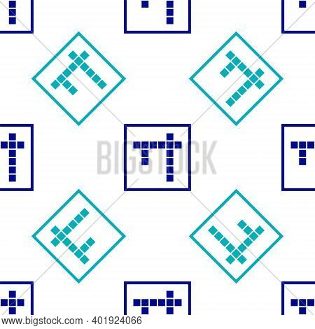 Blue Bingo Icon Isolated Seamless Pattern On White Background. Lottery Tickets For American Bingo Ga