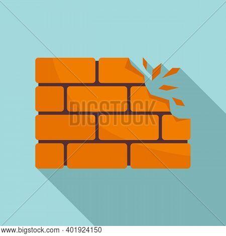 Demolition Brick Wall Icon. Flat Illustration Of Demolition Brick Wall Vector Icon For Web Design