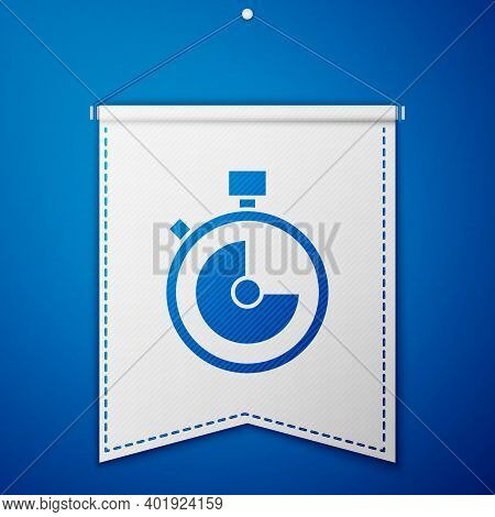 Blue Stopwatch Icon Isolated On Blue Background. Time Timer Sign. Chronometer Sign. White Pennant Te