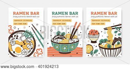 Collection Of Ramen Bar Colorful Vertical Posters Vector Flat Illustration. Set Of Promo Templates F
