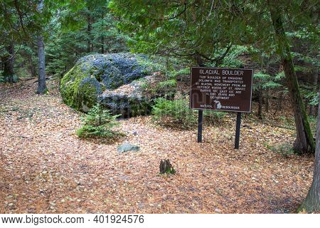 Massive Ancient Glacial Boulder Of Engadine Dolomite Near The Coast Of Lake Michigan In Wilderness S