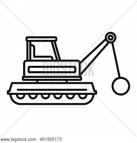 Demolition Heavy Machine Icon. Outline Demolition Heavy Machine Vector Icon For Web Design Isolated