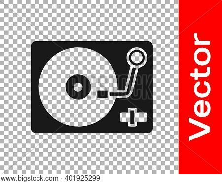 Black Vinyl Player With A Vinyl Disk Icon Isolated On Transparent Background. Vector