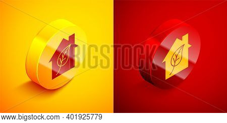Isometric Eco Friendly House Icon Isolated On Orange And Red Background. Eco House With Leaf. Circle