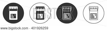 Black Biologically Active Additives Icon Isolated On White Background. Circle Button. Vector