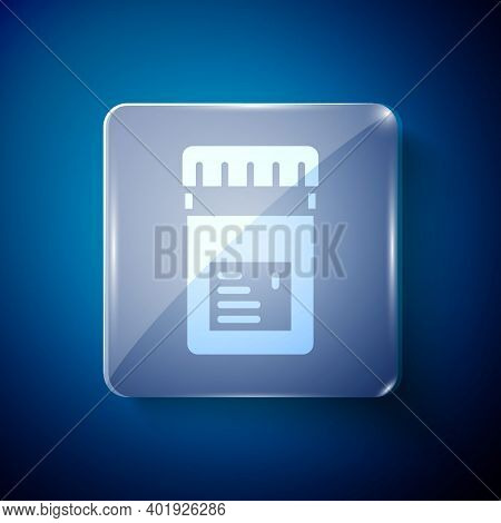 White Biologically Active Additives Icon Isolated On Blue Background. Square Glass Panels. Vector