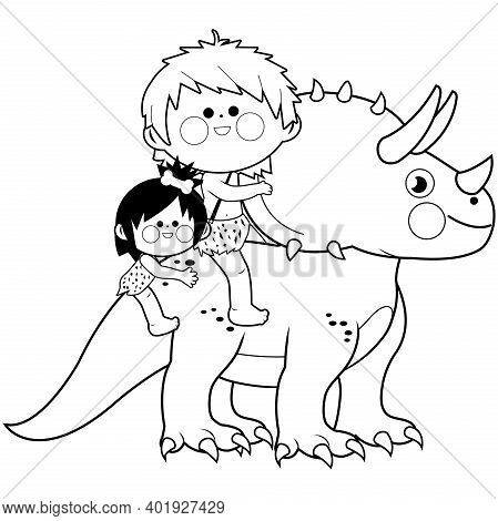 Children Riding A Triceratops Prehistoric Animal. Vector Black And White Coloring Page