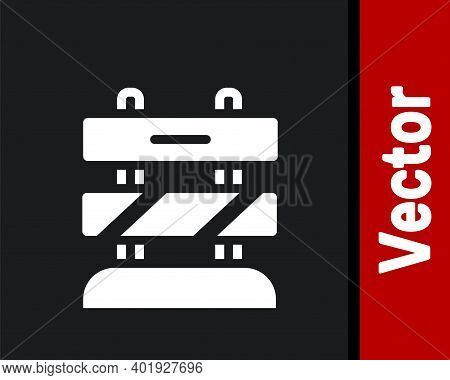 White End Of Railway Tracks Icon Isolated On Black Background. Stop Sign. Railroad Buffer End To Des