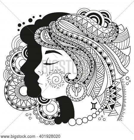 Vector Coloring Book For Adults. Silhouette Of Gemini Isolated On White Background. Zodiac Gemini .
