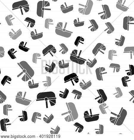 Black Baby Stroller Icon Isolated Seamless Pattern On White Background. Baby Carriage, Buggy, Pram,