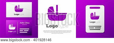 Logotype Baby Stroller Icon Isolated On White Background. Baby Carriage, Buggy, Pram, Stroller, Whee