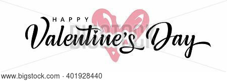Valentine's Day Background With Pink Heart And Typography Of Happy Valentines Day. Valentine Holiday
