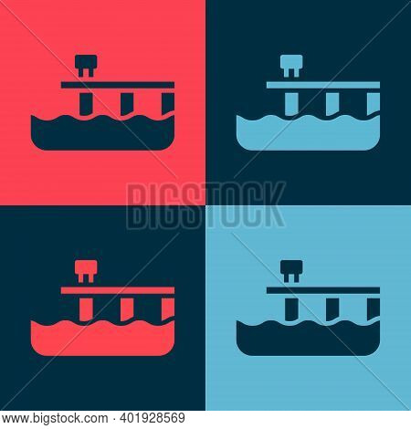 Pop Art Beach Pier Dock Icon Isolated On Color Background. Vector