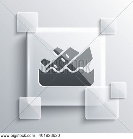 Grey Sinking Cruise Ship Icon Isolated On Grey Background. Travel Tourism Nautical Transport. Voyage