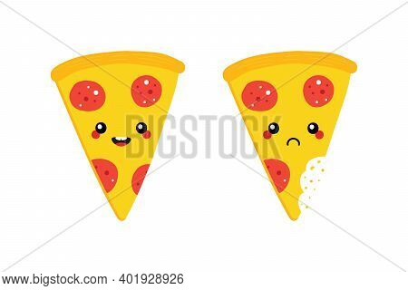 Cute Cartoon Style Pepperoni Pizza Slice Characters, Happy Smiling And Sad With Bite Mark.