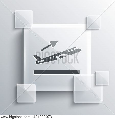 Grey Plane Takeoff Icon Isolated On Grey Background. Airplane Transport Symbol. Square Glass Panels.