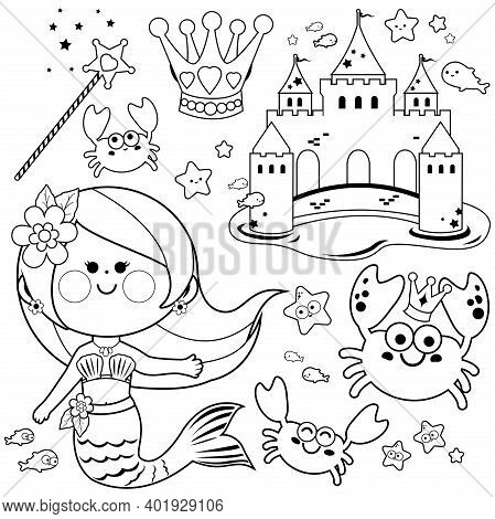 Pretty Mermaid Princess Collection, Fish, Starfish, Crabs, A Castle, Crown And Magic Wand. Vector Bl