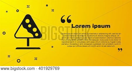Black Road Sign Avalanches Icon Isolated On Yellow Background. Snowslide Or Snowslip Rapid Flow Of S