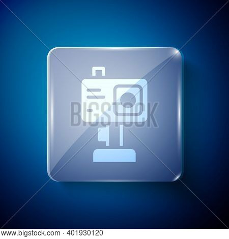 White Action Extreme Camera Icon Isolated On Blue Background. Video Camera Equipment For Filming Ext