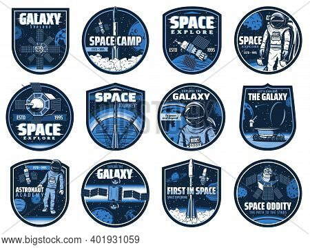 Outer Space Vector Icons With Glitch Effect. Astronaut Academy, Galaxy, Rocket. Cosmos Explore Shutt
