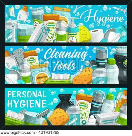 Hygiene, Personal Health Care Wash And Clean Products, Vector Banners. Bathroom And Skincare Toiletr