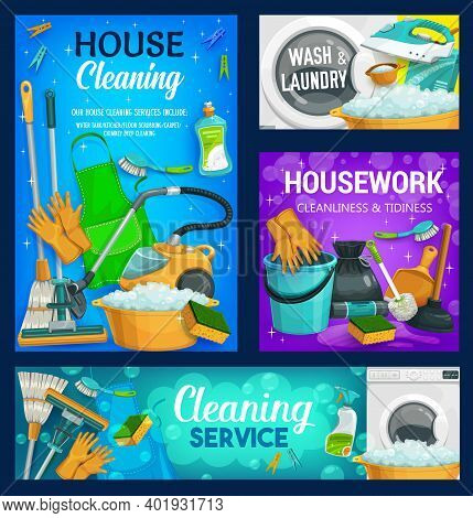 House Cleaning Service, Home Cleaners, Household Housework And Laundry, Vector. House Cleaning Spray