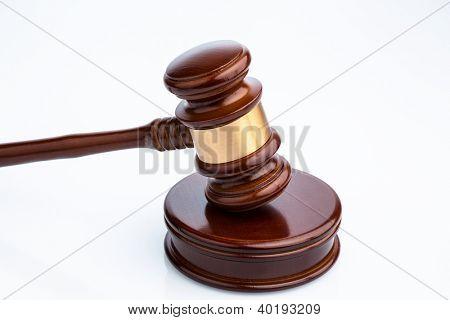 gavel (gavel) on white background. symbolic photo for justice