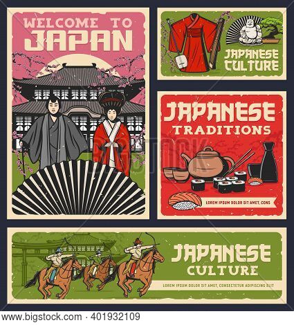 Japanese Food, Culture And Religion Traditions Vector Design Of Sushi Rolls, Geisha And Samurai With