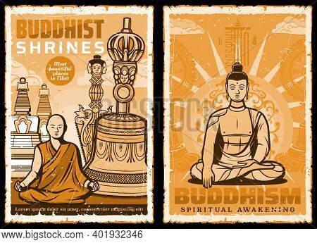 Buddhist Shrines. Vector Posters With Buddha And Tibet Monk Meditate Sitting In Lotus Yoga Pose On B