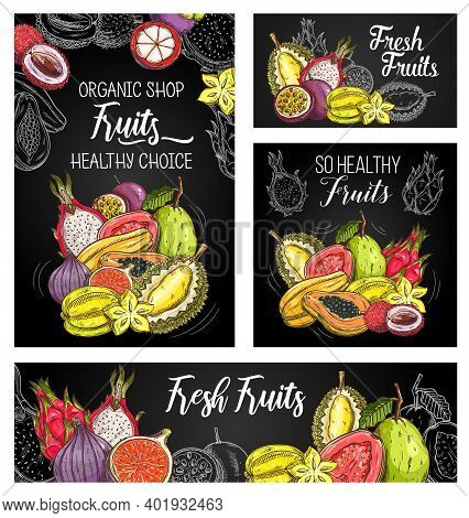 Exotic Fruits Vector Posters With Sketch Mangosteen, Papaya And Figs, Durian With Carambola, Guava,