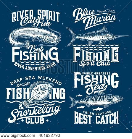 Fishing Club Icons, Sport T-shirt Print Templates, Fishes And Sea Water Waves, Vector Blue Mockups.